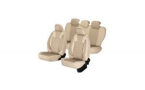 Huse scaune auto NISSAN ALMERA 2000-2006  dAL Luxury Bej,Piele ecologica + Textil