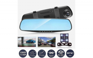 Camera Video Auto Dubla Tip Oglinda, Meniu Limba Romana, Full-HD 1080p, Display 4.3 Mod Parcare, G Senzor, Detectie Miscare, Unghi larg de filmare