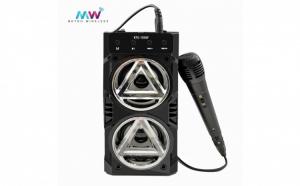 Boxa portabila bluetooth KTS, karaoke, aux, suport card + Cadou microfon cu fir