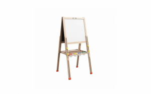 Tabla educativa din lemn, reglabila, pentru desenat si scris, 2 fete, tip sevalet, 148 cm
