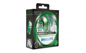 Set 2 becuri auto far halogen, Philips H4 Color Vision Green, 12V, 55W