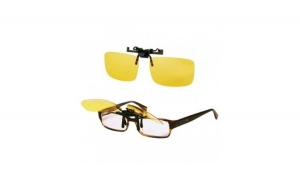 Ochelari HD pentru condus noaptea CLIPS-ON + Parasolar auto HD Vision Visor cu functie pentru zi/noapte