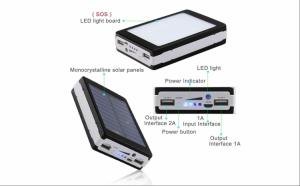 Baterie externa Power Bank 20000 mAh - cu incarcare solara + lanterna 20 LED C187