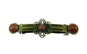 Clama de par floricica bronz cu Piatra