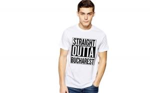 Tricou alb barbati - Straight Outta Bucuresti