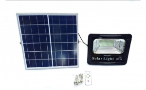 Proiector led 60W Rezistent La Apa cu panou solar,Lumina Rece + Telecomanda