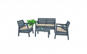 Set mobilier gradina santana, 4 piese, antracit
