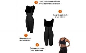 Costum pentru slabire Slim Neo, marime L, negru, 80% neopren 20% nylon, sala, gym, yoga, pilates, remodelare