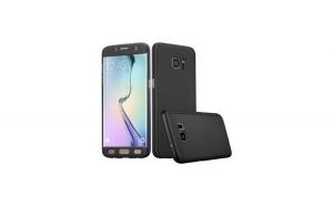 Husa 360 grade Samsung Galaxy S6 Edge Plus Negru + Folie Protectie Plastic