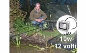 Proiector Led 10 W, cu alimentare la 12V - poate fi alimentat la acumulatorul auto, ideal pentru panouri solare, rulote, in campinguri, la pescuit