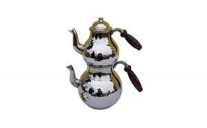 Ceainic turcesc din cupru EHA, 2 buc/set , 1000 l si 0,500 l, culoare argintiu