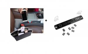 Pachet auto: suport/ placa pentru numarul de telefon, pentru interior parbriz + Suport pentru masina - format din 2 buzunare ce se amplaseaza intre scaunele masinii
