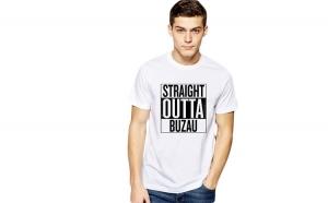 Tricou alb barbati - Straight Outta Buzau