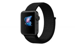Curea Textila Premium MTP, Dark Black pentru Apple Watch 42mm