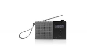 Radio FM cu ceas si alarma 2.1 W gri negru Nedis