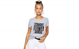 Tricou dama gri - Straight Outta Giurgiu