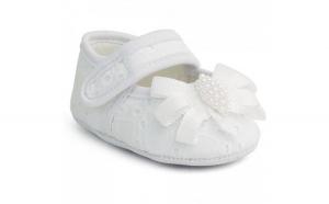 Balerini bebe albi cu dantela si perlute