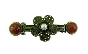 Clama de par floare bronz antic cu Piatra Soarelui si perla