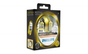 Set 2 becuri auto far halogen, Philips H4, Color Vision Yellow, 12V, 55W