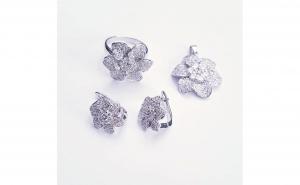 Set bijuterii din Argint, model floral, cu zirconii transparente