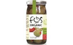 Masline verzi cu ardei natural 350g FOS Bio