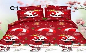 Lenjerie de pat Christmas, modele vesele pentru sarbatorile de iarna, la 129 RON in loc de 259 RON! Garantie 12 luni!
