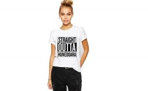 Tricou dama alb -  Straight Outta Hunedoara