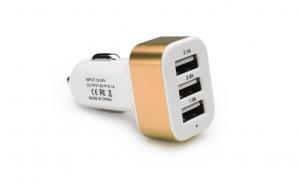 Adaptor priza bricheta 12-24V auto, 3 x USB, maro, universal, incarcator, transformator, alimentator auto - pentru telefon sau tableta C181