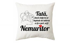 Perna personalizata patrata alba, model ,     Tata nemuritor,     , poliester, 40     40 cm