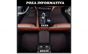 Covorase auto LUX PIELE 5D Mercedes C-Klasse W205 2014-> ( 5D-02 cusatura rosie )