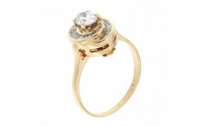 Inel din aur galben 18K cu diamante