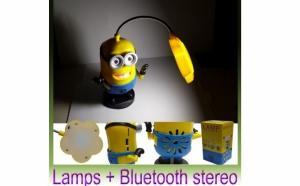 Noua Lampa de birou portabila cu radio FM, USB si BT speaker in forma de MINIONI, la doar 83 RON in loc de 199 RON