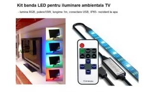 Kit banda LED pentru iluminarea ambientala TV, lumina RGB, 10W, lungime 1m, conectare USB, rezistent la apa, doar 65 RON in loc de 120 RON. VEZI VIDEO!