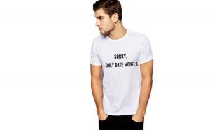 Tricou alb barbati - Sorry, i only date models