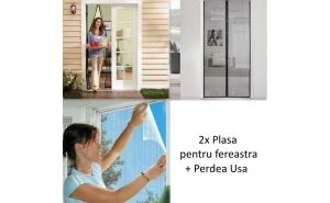 Pachet impotriva tantarilor: 2 Plasa pentru fereastra + 1 Perdea magnetica de usa