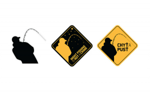 Sticker silueta pescarului