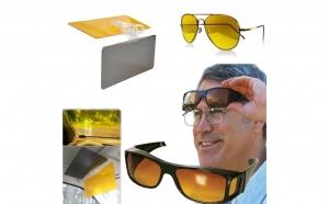 Set parasolar auto HD Vision cu functie pentru zi/noapte + Ochelari de noapte + CADOU: Ochelari pentru zi, model HD Vision