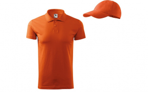 Tricou polo barbati portocaliu + sapca