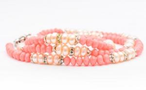 Colier/Bratara handmade din Coral si Perle, la doar 110 RON in loc de 250 RON