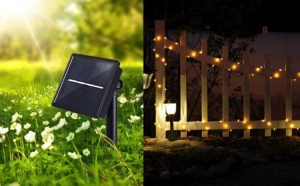 Instalatie solara, de exterior, 100 LED, 10m, 8 jocuri, senzor lumina