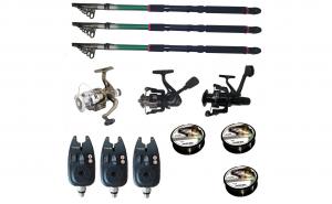 Set pescuit sportiv cu 3 lansete de 2.4m