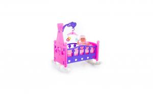 Papusa bebelus cu patut si carusel muzical, varsta 3 ani+, multicolor