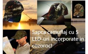 Sapca camuflaj cu 5 LED-uri, incorporate in cozoroc
