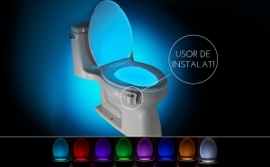Oferta limitata! Dispozitiv LED pentru vasul de toaleta cu senzor infrarosu, consum scazut de energie