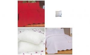 Set cuvertura pentru pat dublu 230x250cm cu 2 fete de perna + 2 perne matlasate antialergice 40x40cm, la doar 137 RON in loc de 280 RON