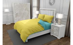 Lenjerie de pat pentru o persoana cu husa elastic pat si 2 fete perna dreptunghiulara, Duo Yellow, bumbac satinat, gramaj tesatura 120 g mp, Galben Turcoaz, 4 piese