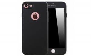 Husa Apple iPhone 6/6S Flippy Full Silicone 360 Negru + Folie de protectie