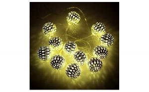 Instalatie globuri aurii Craciun, 20 LED-uri cu lumina alba calda, 3 m, interior