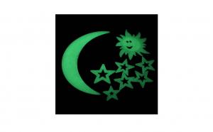 Set 11 stickere fosforescente cu luna si stele pentru perete