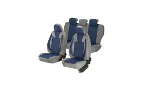 Huse scaune auto DACIA SANDERO 2008-2010  dAL Luxury Albastru,Piele ecologica + Textil